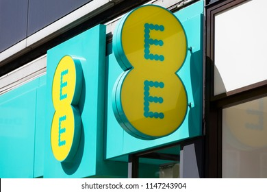 LONDON, UK - JULY 31th 2018: EE mobile network store front on Oxford Street in central London.