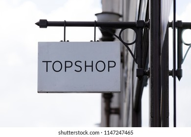 LONDON, UK - JULY 31th 2018: Topshop clothing store shop front on Oxford Street in central London.