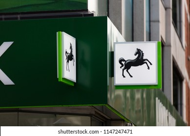 LONDON, UK - JULY 31th 2018: Lloyds bank store front on Oxford Street in central London.