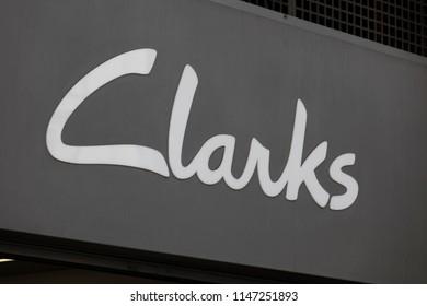 c0e35516 LONDON, UK - JULY 31th 2018: Clarks shoe shop store front branding on Oxford