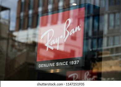 LONDON, UK - JULY 31th 2018: Ray-ban sunglasses branding in a shop front on Oxford Street in central London.