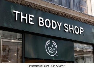 LONDON, UK - JULY 31th 2018: The Body Shop cosmetics store on Oxford Street in central London.
