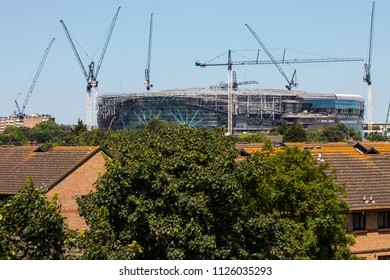 LONDON, UK - JULY 3RD 2018: A view of the new Tottenham Hotspur FC stadium under construction in Tottenham, London, on 3rd July 2018.