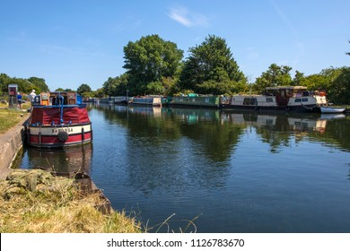 LONDON, UK - JULY 3RD 2018: A view of the House Boats moored on the River Lea at Stonebridge Lock in Tottenham, London, on 3rd July 2018.
