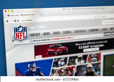 LONDON, UK - JULY 4TH 2017: The homepage of the official website for the NFL - National Football League, on 4th July 2017.