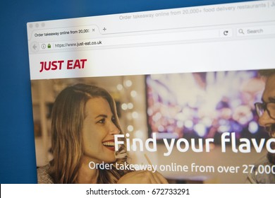 LONDON, UK - JULY 4TH 2017: The homepage of the website for Just Eat - the online ordering and delivery website for takeaway food, on 4th July 2017.