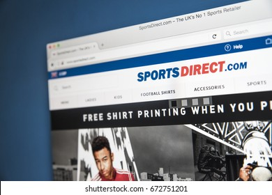 LONDON, UK - JULY 4TH 2017: The homepage of the official website for Sports Direct - the UKs largest sports-goods retailer, on 4th July 2017.