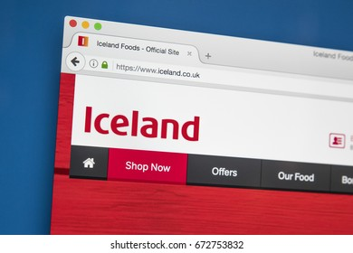LONDON, UK - JULY 4TH 2017: The homepage of the official website for Iceland - the British Supermarket chain, on 4th July 2017.