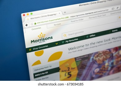 LONDON, UK - JULY 5TH 2017: The homepage of the official website for Morrisons - the British Supermarket chain, on 5th July 2017.
