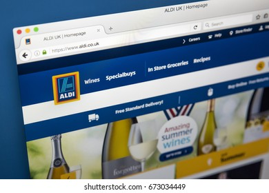 LONDON, UK - JULY 5TH 2017: The homepage of the official website for Aldi - the global Supermarket chain, on 5th July 2017.