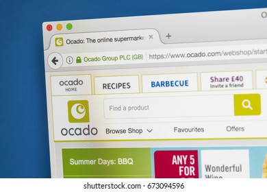 LONDON, UK - JULY 5TH 2017: The homepage of the official website for Ocado - the British online Supermarket, on 5th July 2017.