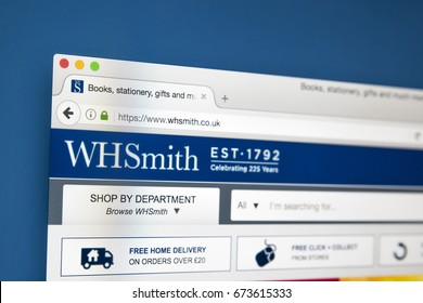 LONDON, UK - JULY 5TH 2017: The homepage of the official website for WHSmith - the British retailer which sells books, magazines, stationery and entertainment products, on 5th July 2017.