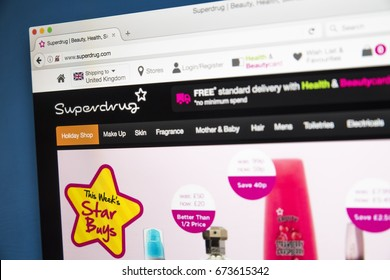 LONDON, UK - JULY 5TH 2017: The homepage of the official website for Superdrug - the health and beauty retailer in the UK, on 5th July 2017.
