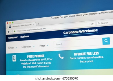 LONDON, UK - JULY 5TH 2017: The homepage of the official website for Carphone Warehouse, the British mobile phone retailer, on 5th July 2017.