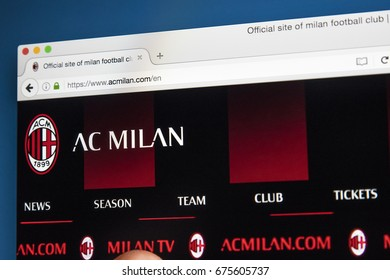 LONDON, UK - JULY 5TH 2017: The homepage of the official website for AC Milan FC, on 5th July 2017.