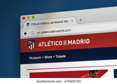 LONDON, UK - JULY 5TH 2017: The homepage of the official website for Athletico Madrid FC, on 5th July 2017.