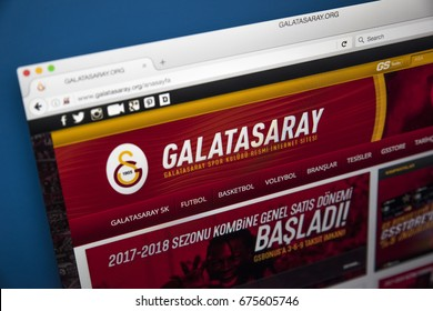 LONDON, UK - JULY 5TH 2017: The homepage of the official website for Galatasaray Sports Club, most famous for its association football department, on 5th July 2017.