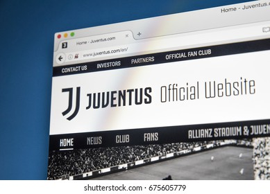 LONDON, UK - JULY 5TH 2017: The homepage of the official website for Juventus FC, on 5th July 2017.