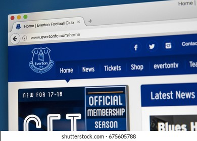 LONDON, UK - JULY 5TH 2017: The homepage of the official website for Everton FC, on 5th July 2017.