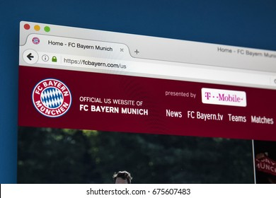 LONDON, UK - JULY 5TH 2017: The homepage of the official website for FC Bayern Munich, on 5th July 2017.