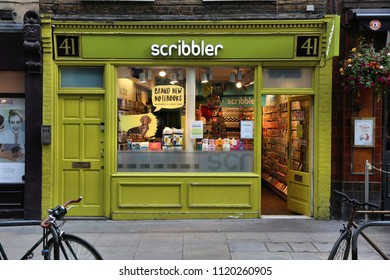 LONDON, UK - JULY 6, 2016: People shop at Scribbler greeting card store in London. Scribbler has some 36 stores in the UK.