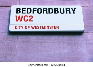 LONDON, UK - JULY 6, 2016: Bedfordbury street sign in London, UK. London is the most populous city in the UK with 13 million people living in its metro area.