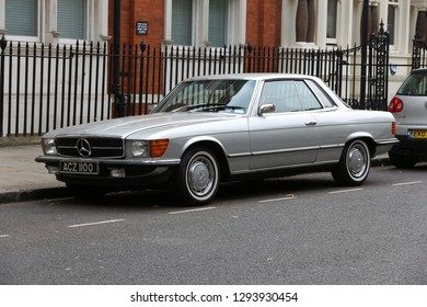 LONDON, UK - JULY 6, 2016: Classic Mercedes SL (R107) luxury coupe car parked in London, UK. There are 2.6m cars registered in London.