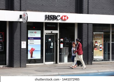 LONDON, UK - JULY 6, 2016: HSBC Bank branch in London. HSBC was established in Hong Kong in 1865. Currently it is headquartered in the UK.