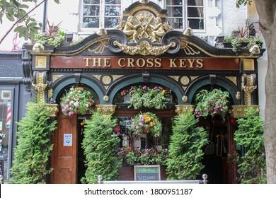 London / UK - July 6 2020: The Cross Keys, a London pub near Covent Garden in Soho