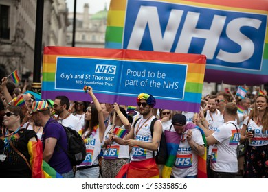 LONDON, UK - July 6th 2019: NHS staff members take part in the annual gay pride march in central London
