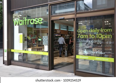 LONDON, UK - JULY 7, 2016: Little Waitrose store in London. Waitrose supermarket has 350 branches in the UK.