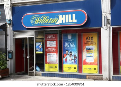 LONDON, UK - JULY 7, 2016: Sports betting shop William Hill in London. There are some 9,000 betting shops in the UK.