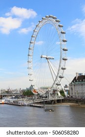 LONDON, UK - JULY 7, 2016: People ride London Eye in London. The Eye is the tallest ferris wheel in Europe.