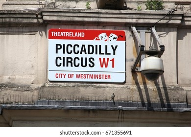 LONDON, UK - JULY 7, 2016: Piccadilly Circus street sign in London, UK. London is the most populous city in the UK with 13 million people living in its metro area.