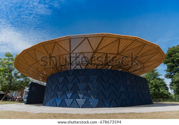 LONDON, UK - JULY 7, 2017. Serpentine Gallery Summer Pavilion designed by Burkina Faso Architect Francis Kere.  Inspired by the tree which is the central meeting point of Gando, Kere's hometown.