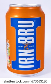LONDON, UK - JULY 7TH 2017: An unopened can of Irn-Bru, over a plain white background, on 7th July 2017.