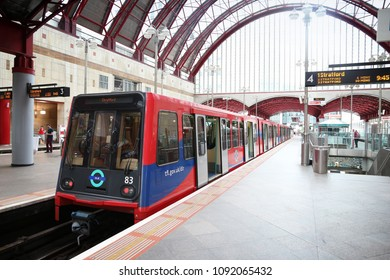 LONDON, UK - JULY 8, 2016: Docklands Light Railway (DLR) train station in London, UK. DLR serves annual 110.2 million rides.