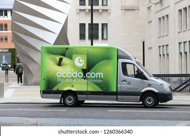 LONDON, UK - JULY 8, 2016: Ocado food delivery Mercedes Sprinter van in London, UK. Ocado is a British online-only supermarket.