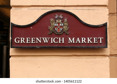 LONDON, UK - JULY 8, 2016: Sign board for Greenwich Market in London, UK. Royal Borough of Greenwich is a part of London with population of 274,800.