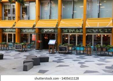 LONDON, UK - JULY 8, 2016: Jamie's Italian restaurant in London, UK. The chain of 42 restaurants was founded by British celebrity chef Jamie Oliver. The company collapsed in 2019.