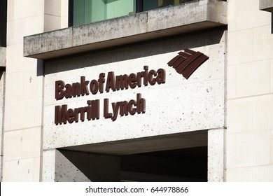 LONDON, UK - JULY 8, 2016: Bank of America Merrill Lynch branch in London. Merrill Lynch is the wealth management division of Bank of America.