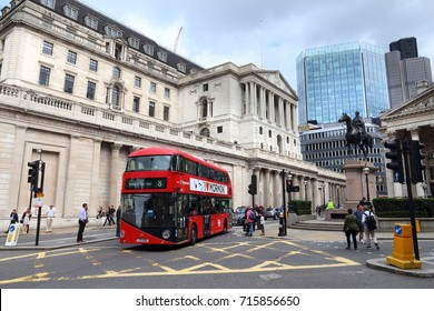 LONDON, UK - JULY 8, 2016: People visit Bank Junction in London, UK. London is the most populous city in the UK with 13 million people living in its metro area.