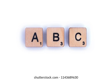 london uk july 8th 2018 the letters abc spelt with wooden letter