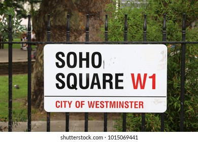 LONDON, UK - JULY 9, 2016: Soho Square sign in London, UK. London is the most populous city in the UK with 13 million people living in its metro area.