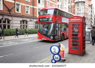 LONDON, UK - JULY 9, 2016: New Routemaster bus in Bloomsbury, London. The hybrid diesel-electric bus is a new, modern version of iconic double decker.