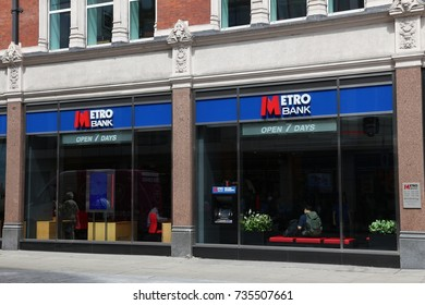LONDON, UK - JULY 9, 2016: Metro Bank branch in London. Metro Bank is supposed to be a high street bank and has 48 locations.