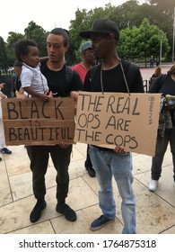 London / UK - July 9th 2016: Black Lives Matter UK marches through the streets of Brixton in solidarity with Ferguson following the killing of Mike Brown and against racism within UK