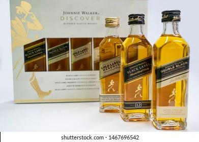 LONDON, UK - JUN 25: Johnnie Walker Discover Blended Scotch Whisky Package. Black label, double black, Goldan Label Reserve and 18 years Scotch whisky small bottles.