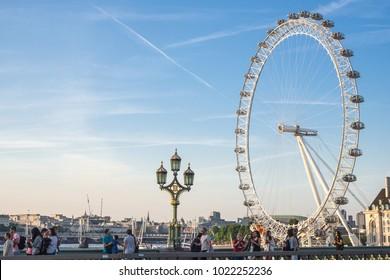 LONDON, UK - JUN14, 2017: People travel to visit London eye, UK