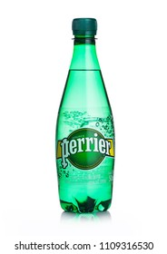 LONDON, UK - JUNE 02, 2018: Plastic Bottle of Perrier sparkling water. Perrier is a French brand of natural bottled mineral water sold worldwide.